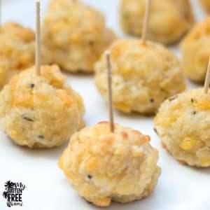 Gluten Free Sausage Balls- Cheesy Goodness with Spicy Chicken Sausage!