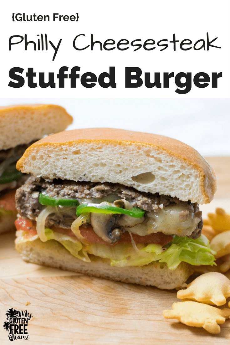 Philly Cheesesteak Stuffed Burger