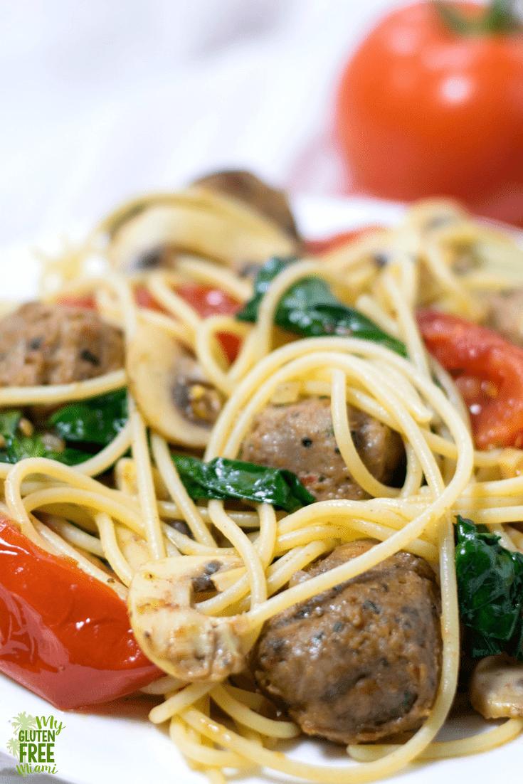 easy veggie packed gluten free pasta