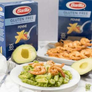Gluten Free Avocado Arugula Pesto with Chipotle Shrimp