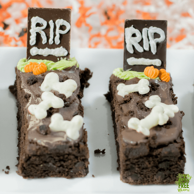 Gluten Free Tombstone Brownies up close