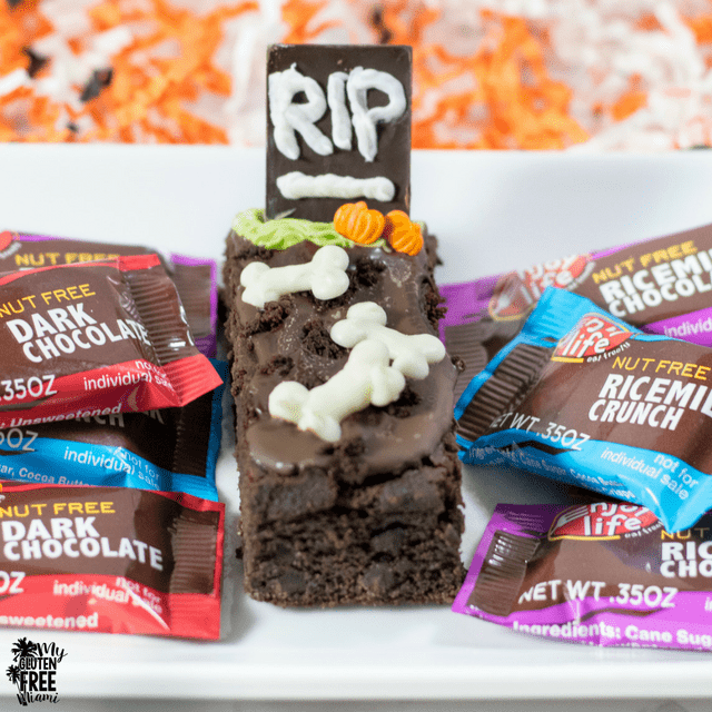 Spooky Tombstone Brownie with Chocolate Tombstone and Enjoy Life Mini Chocolate Bars