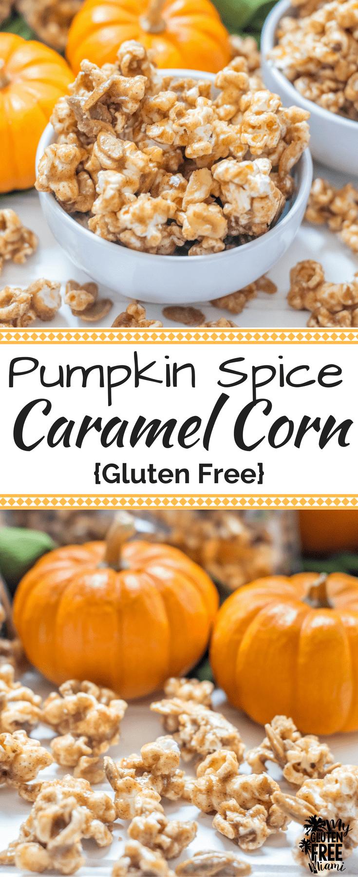 Pumpkin Spice Caramel Corn with Pumpkin Seeds and Walnuts