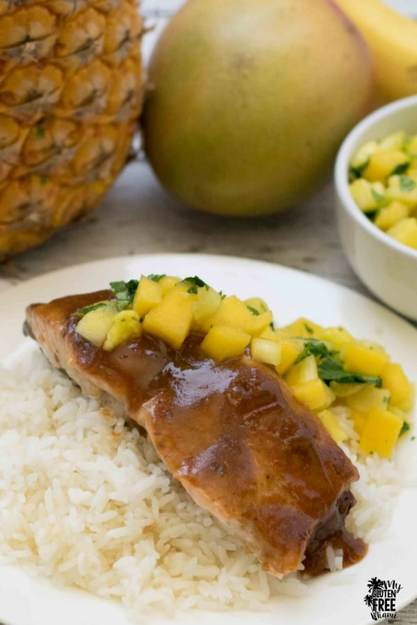 Pineapple Mango Glazed Salmon