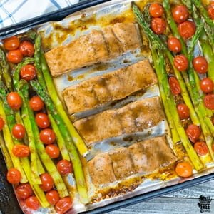 Gluten Free, One Pan Balsamic Glazed Salmon with Asparagus and Tomatoes