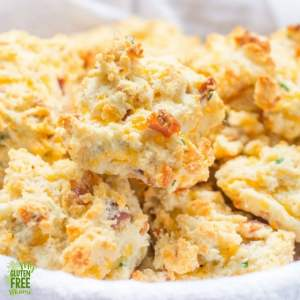 Bacon Cheddar Chive Gluten Free Drop Biscuits in a basket