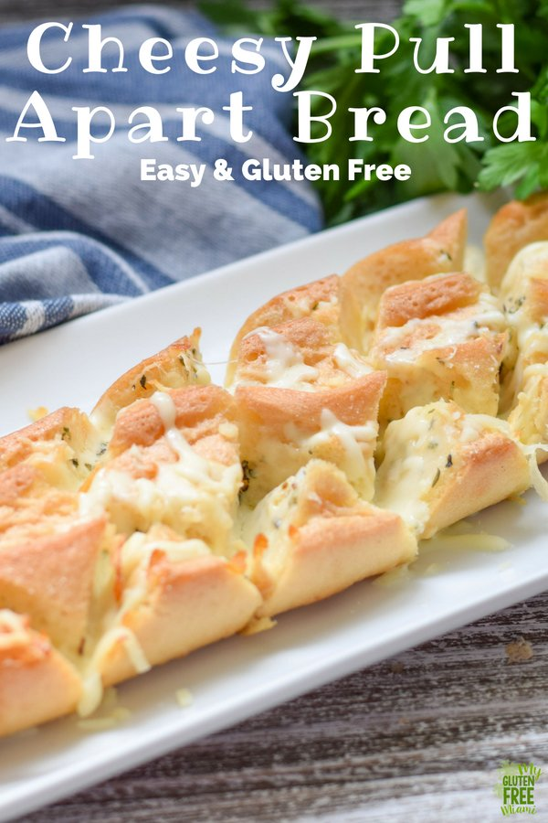 Gooey, gluten free pull apart cheesy bread is what dreams are made of! Garlic, herbs, and cheese take this gluten free baguette from good to amazing.