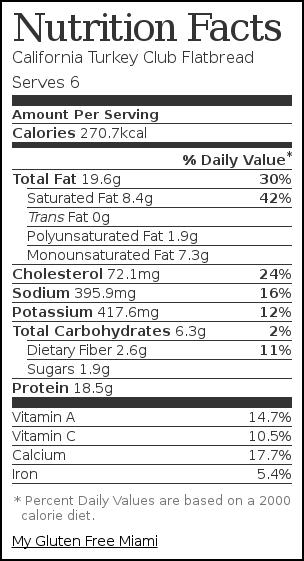 Nutrition label for California Turkey Club Flatbread