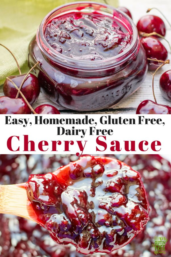 Easy, homemade cherry sauce is a must make for all your favorite cherry dishes, from topping ice cream to gluten freeturnover filling, you just can't go wrong! Ready in under 30 minutes, dairy and gluten free cherry sauce can be used for a variety of dishes. #cherry #cherrysauce #glutenfree #glutenfreedessert