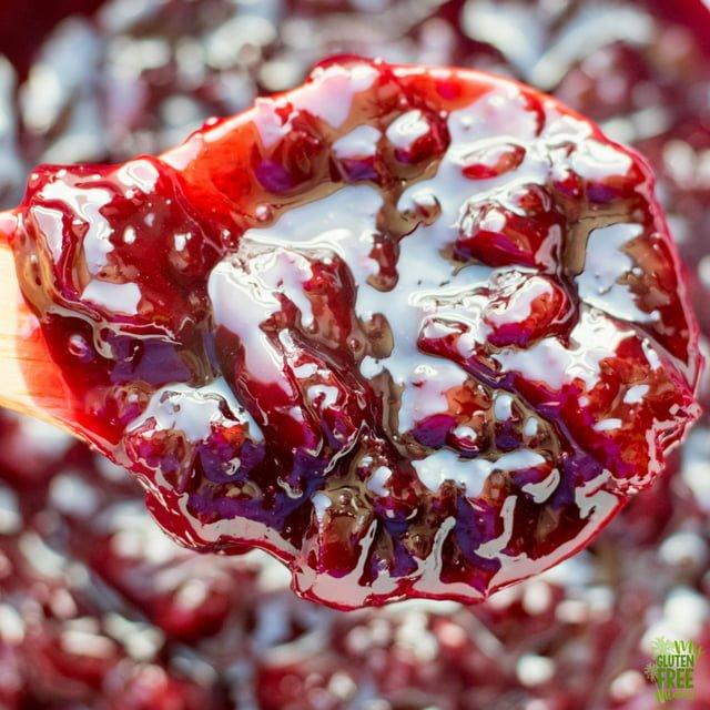 Close up off homemade cherry sauce