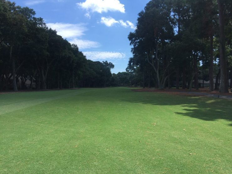 Hole 1, Par 4, 392 yards  at Harbour Town Links
