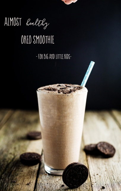 Creamy and smooth like any good milkshake, this Almost Healthy Oreo Smoothie is made with cashews, banana, cacao, almond milk and Oreos.