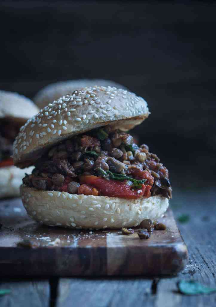These Vegan Copycat Sloppy Joes combine earthy mushrooms and lentils with roast capsicum, spices and chopped spinach to create a full-bodied meatless bun.
