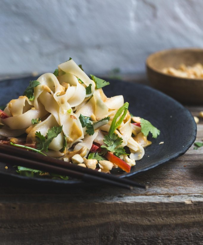 Sam Turnball's 15-Minute Peanut Noodles are ready in under twenty and full of fresh and full-bodied flavours. #fussfreevegan