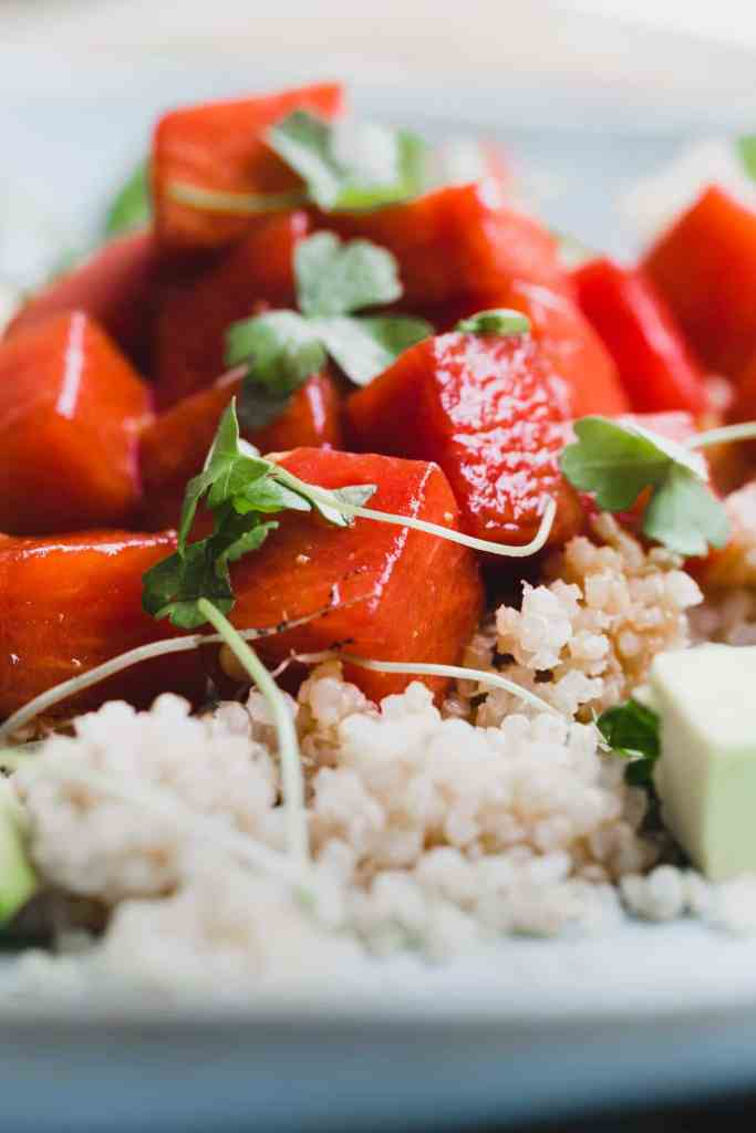 This sesame miso watermelon poke is an effortless combination of sweet watermelon and umami loaded sesame and miso.