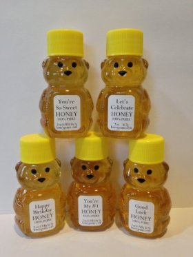 Celebration Gift Set of Five 2 Oz. Honey Bears with Sweet Messages – We can customize any message you like!