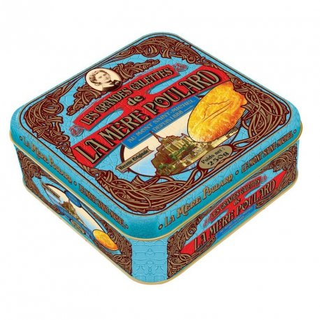 La Mere Poulard Large Galettes – Large Shortbread cookies from France, Metal Gift tin 8.8oz