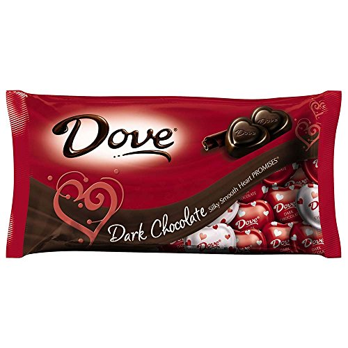 DOVE PROMISES Dark Chocolate Valentine Heart Candy 8.87-Ounce Bag (Pack of 4)