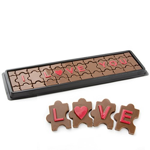 Valentines Day Chocolate Gift, for Him or Her, I Love You Handcrafted Gourmet Solid Milk Chocolate Puzzle Gift Box 36 Pcs + Love Chocolate Heart – Oh! Nuts