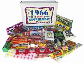 50th Birthday Gift Basket Box Jr. 1966 Retro Nostalgic Candy '60s Decade