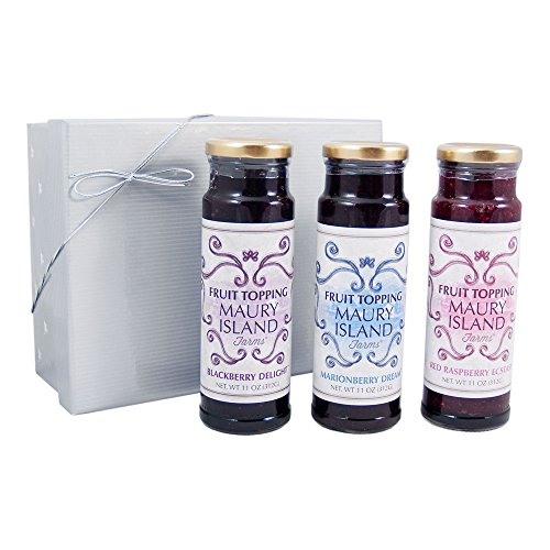 Maury Island Fruit Topping Gift Set – Raspberry, Blackberry, Marionberry – All Natural Dessert Sauce
