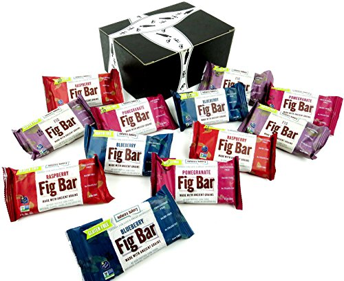 Nature's Bakery Gluten Free Fig Bars 4-Flavor Variety: Three 2 oz Twin Packs Each of Fig, Blueberry, Pomegranate, and Raspberry in a BlackTie Box (12 Items Total)