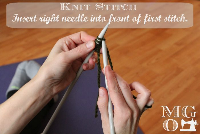 Knit Stitch Tutorial step 2