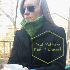 listing photo for Arcade Scallop Cowl show on model with coat on and cowl tucked under. text indicates listing is for the pattern only