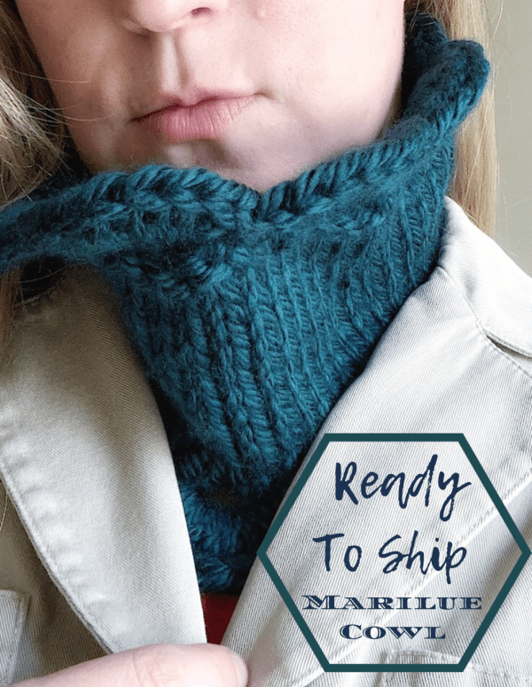 "Marilue Cowl shown tucked in to a jacket with text saying ""Ready to ship Marilue Cowl"""