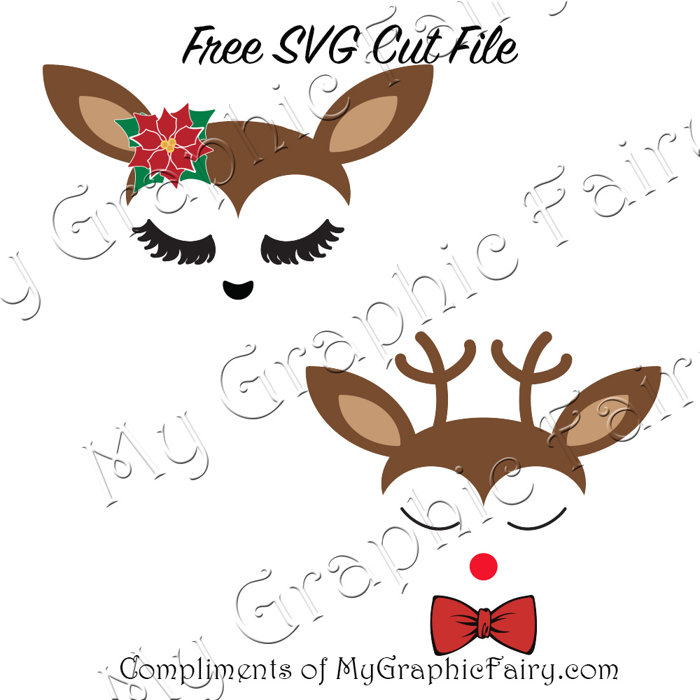 Download Cute Reindeer Faces SVG Files - My Graphic Fairy