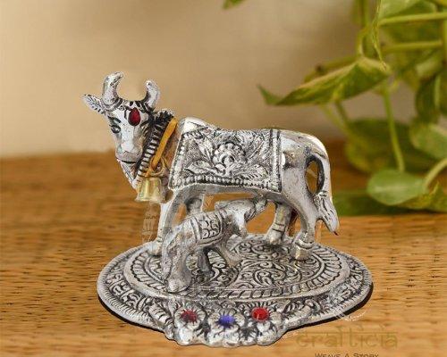 Cow Silver Antique decorative Item - Griha Pravesh Gift Item Idea