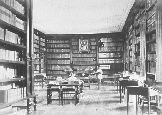 The library of the University of Santo Tomas in 1887. The library was first mentioned in 1605 in the will of Archbishop Miguel de Benavides, the acknowledged founder of the university. Photo from the Biblioteca Nacional de Espana.