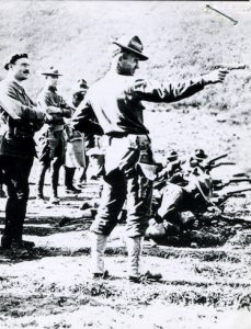 US Army officer training with 1911 pistol in France circa 1918
