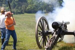 Barbara Baird shooting a cannon