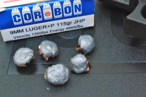 Cor-Bon JHP ammo expanded well from the Glock 26 9mm