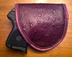 Pretty Dangerous Accessories Duty Eggplant Ostrich Holster with Ruger LCP