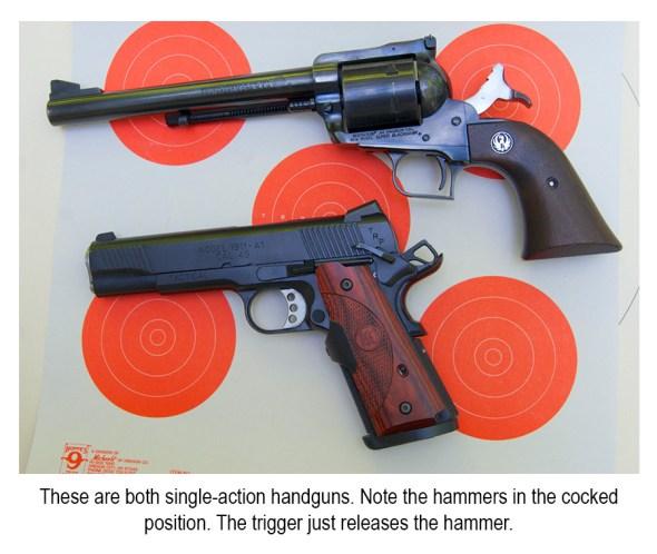 A pair of single-action handguns