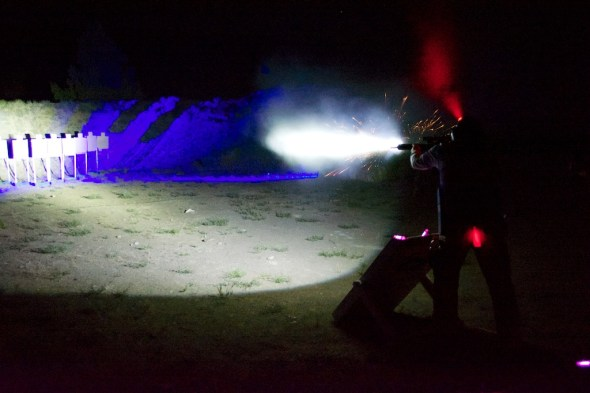 Unloading an AR-15, in the middle of the night, as fast as you can acquire targets, looks kind of like this. Crimson Trace Midnight 3 Gun Event