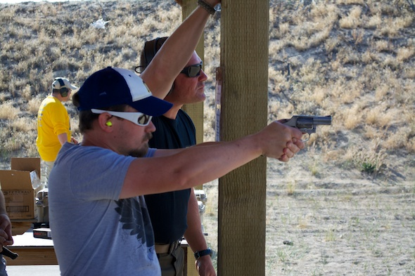 Caleb Giddings and Chris Cerino in a little long-range snubby revolver shooting challenge.