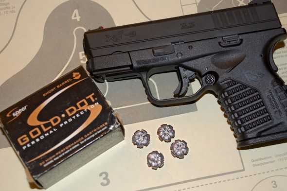 The Speer Gold Dot 9mm Short Barrel load performed perfectly with this 9mm XD-S. Expansion was perfect after passing through two layers of leather and 4 layers of fabric.