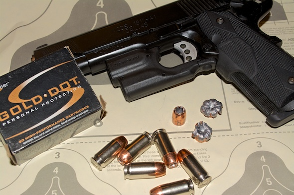 The Speer Gold Dot .45 ACP +P 200 Grain load still offers weight, but with more velocity.