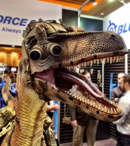 Where else but SHOT Show is a tactical raptor not even remotely out of place?