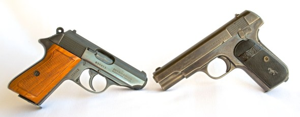 An old and beat up Walther PPK/S (left) restored into a functional (and beautiful) carry gun. Should the well-worn Colt 1903 (right) be given the same treatment?