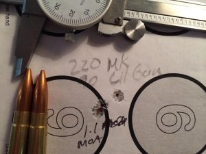 Subsonic ammo, like these 220 grain Sierra MatchKings, shot surprisingly well.