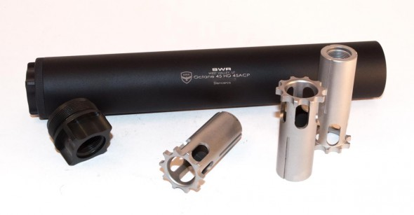By purchasing different pistons and/or fixed mounts, you can use the Octane 45 with a variety of pistol calibers.