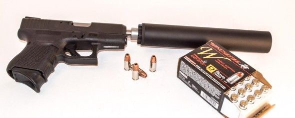 SilencerCo SWR Octane 45 mounted on a Glock 26