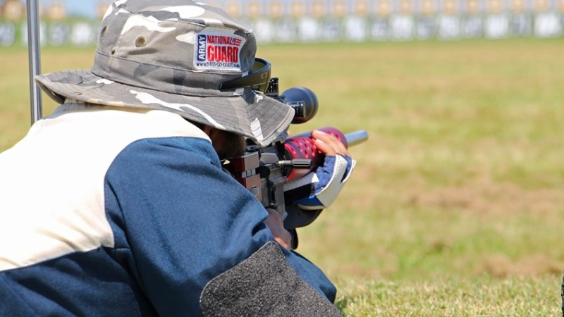 Lining up on a distant target. Photo courtesy of the National Rifle Association.