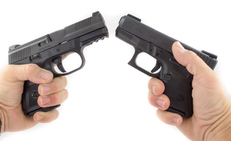 The FNS-9 Compact (left) and Glock 26 (right)