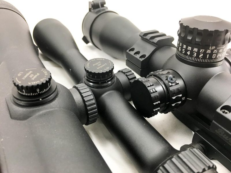The Burris XTR II on the right is designed for quick turret adjustments, while the Eliminator III and Fullfield E1 have reticles designed for hold over shooting.