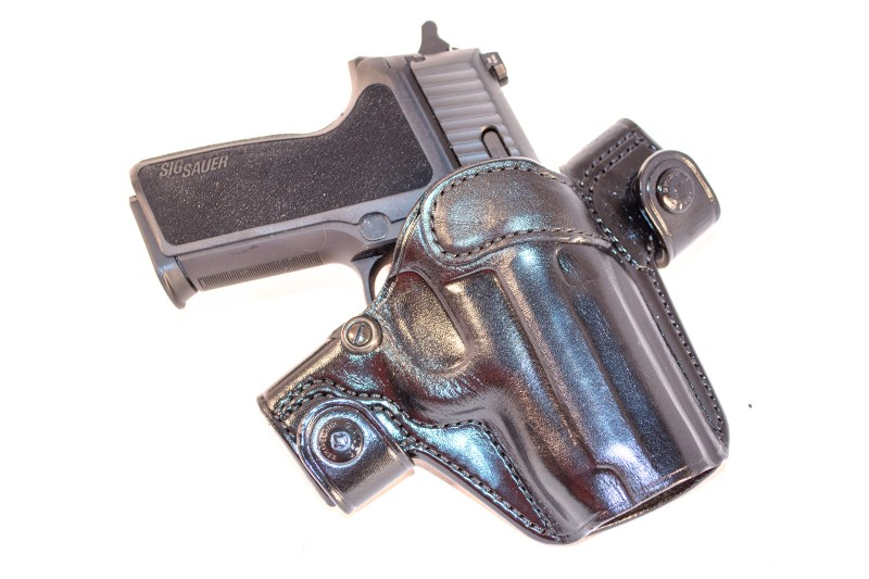 An example of an outside-the-waistband holster, the Galco Side Snap Scabbard.